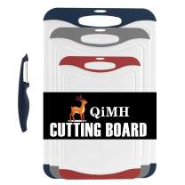 Qimh Oversized Cutting Board Set,4 Piece Large Thicker Boards,Dishwasher Safe,Juice Grooves,Easy Grip Handle (Blue,gray,red)