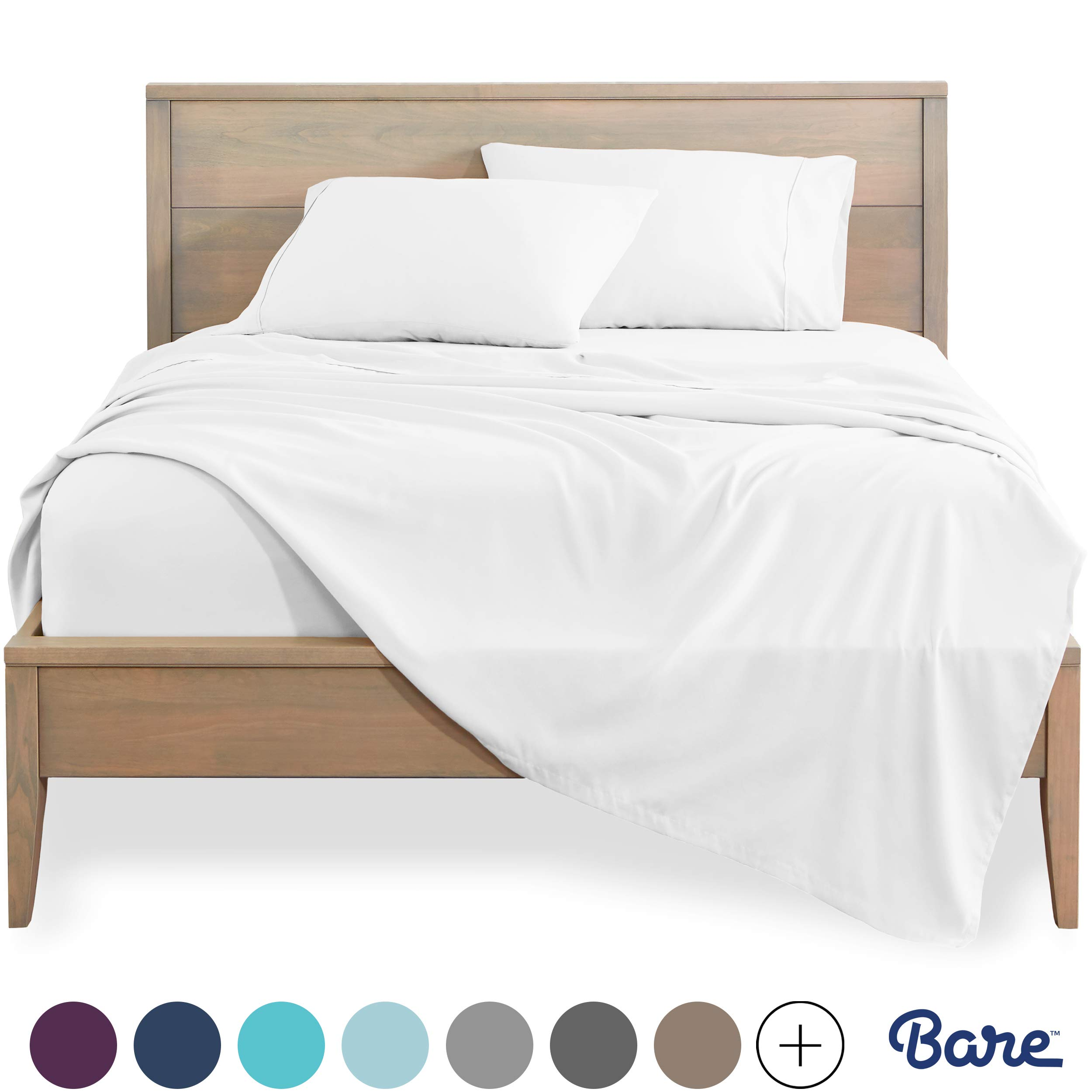 Bare Home Full XL Sheet Set - Kids Size - Premium 1800 Ultra-Soft Microfiber Sheets Full Extra Long - Double Brushed - Hypoallergenic - Wrinkle Resistant (Full XL, Cool White)