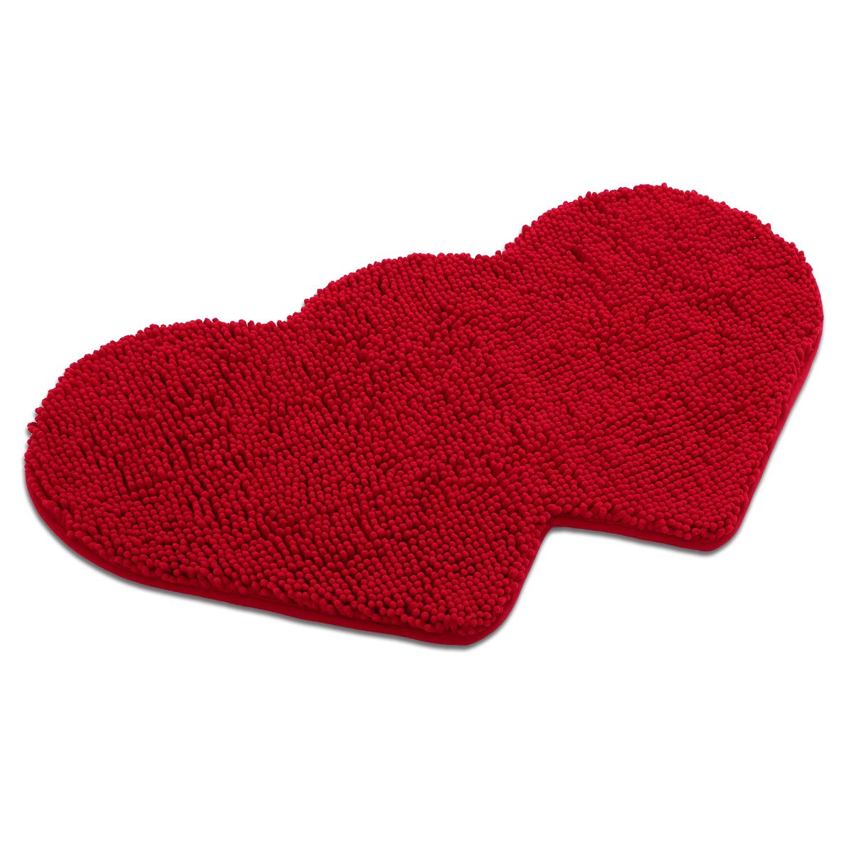 MAYSHINE Non-Slip Bathroom Rug Love Shaped Shag Shower fun Mat Machine-Washable with Water Absorbent Soft Microfibers Suitable for bedroom do with Water Absorbent Soft Microfibers (20.5X35 Inches Red)