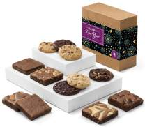 Fairytale Brownies New Year Cookie & Brownie Combo Gourmet Chocolate Food Gift Basket - 3 Inch Square Full-Size Brownies And 3.25 Inch Cookies - 12 Pieces - Item CR313NY