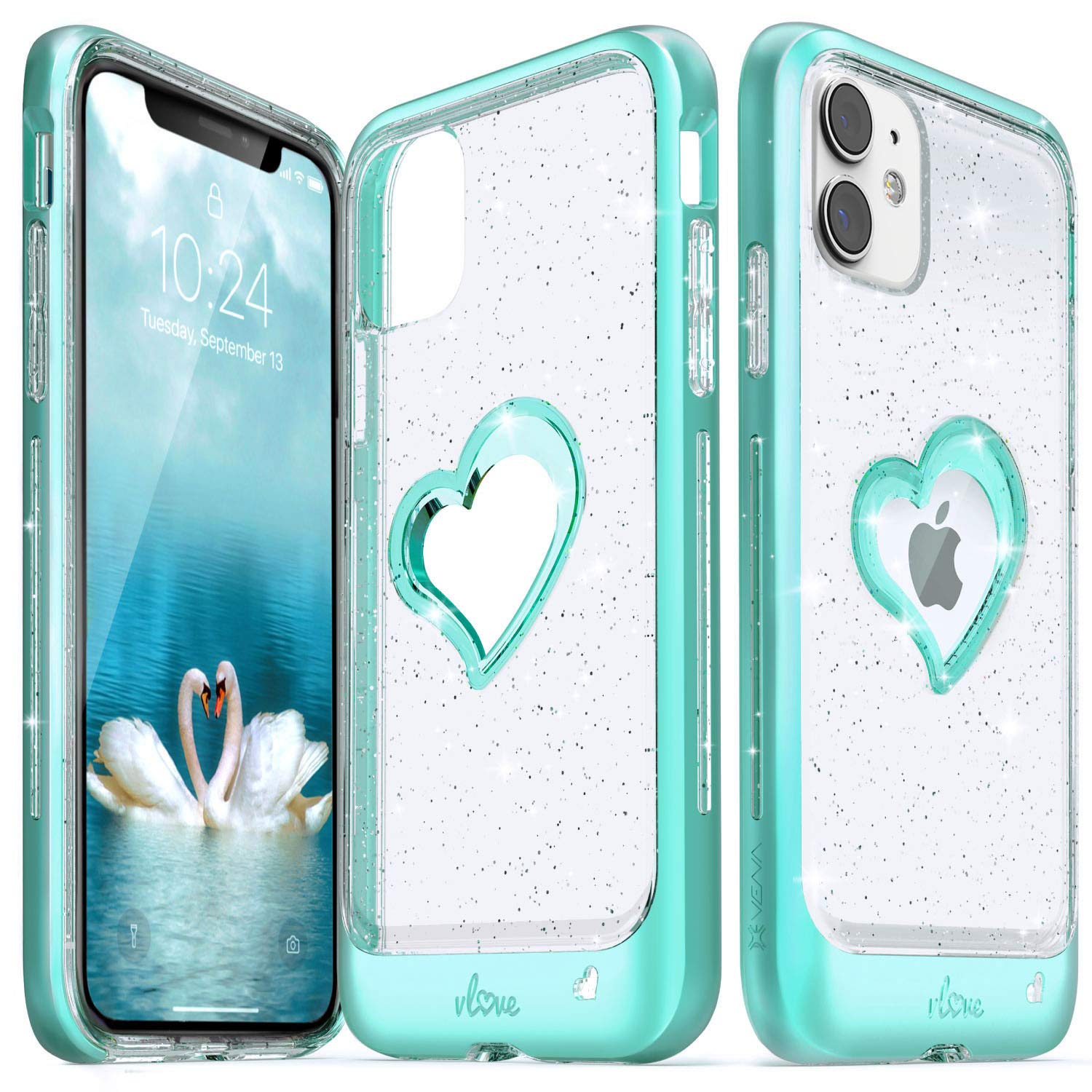 Vena iPhone 11 Glitter Case, vLove Glitter Heart Case Slim Dual Layer Protection Designed for iPhone 11 (6.1 inches) - Teal (PC) and Clear TPU with Glitter