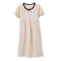 BLOMDES Girls' Polka Dots Nightgowns Bowknot Sleepwear Cotton Nightie for 3-12 Years