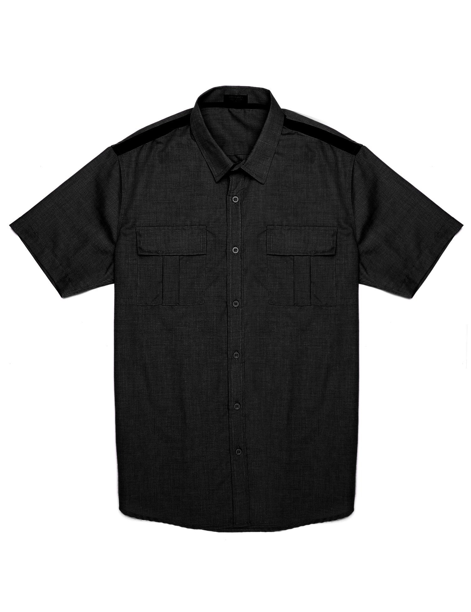 COOFANDY Men's Short Sleeve Button Down Shirt Casual Slim Fit Dress Shirts Black