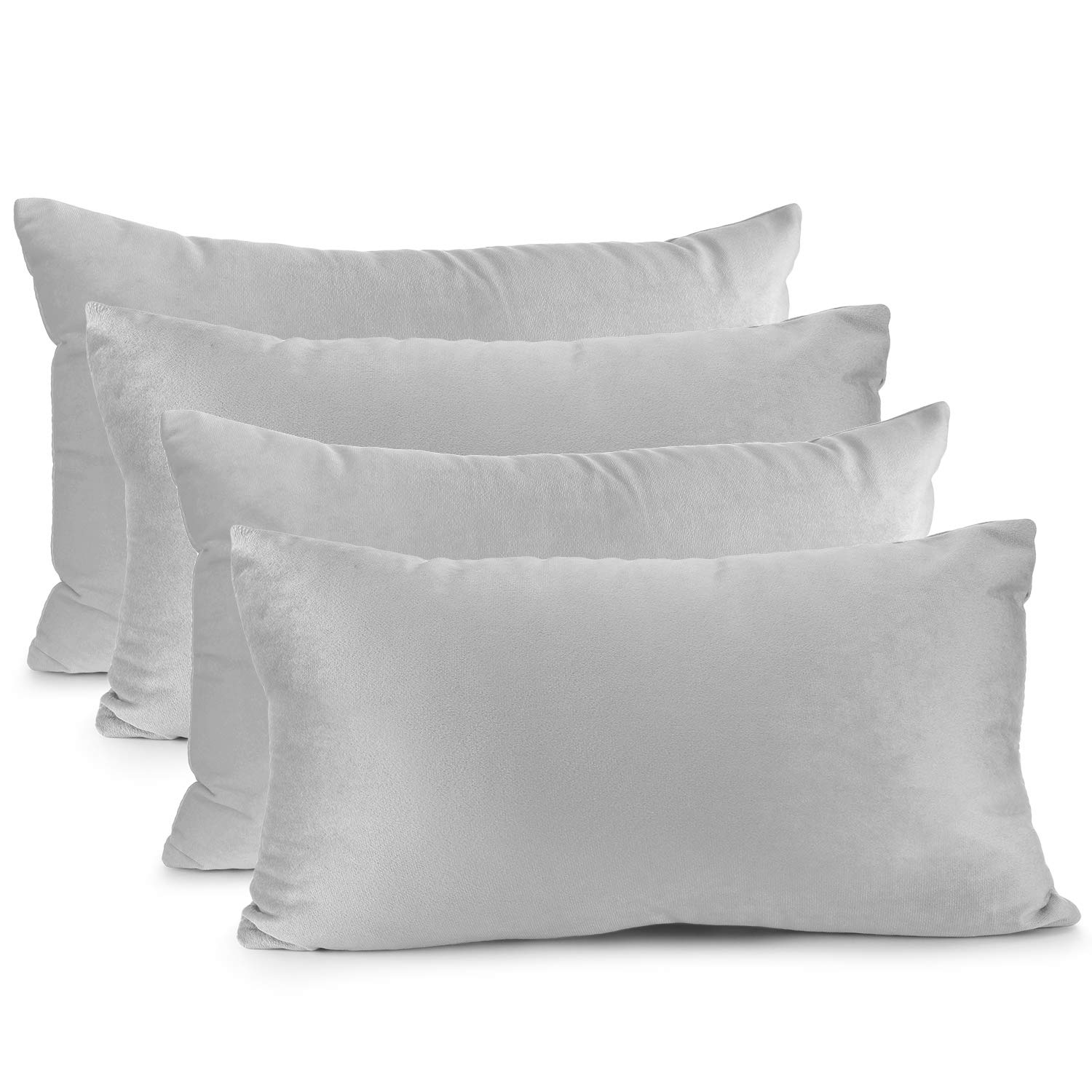 """Nestl Bedding Throw Pillow Cover 12"""" x 20"""" Soft Square Decorative Throw Pillow Covers Cozy Velvet Cushion Case for Sofa Couch Bedroom, Set of 4, Light Gray"""
