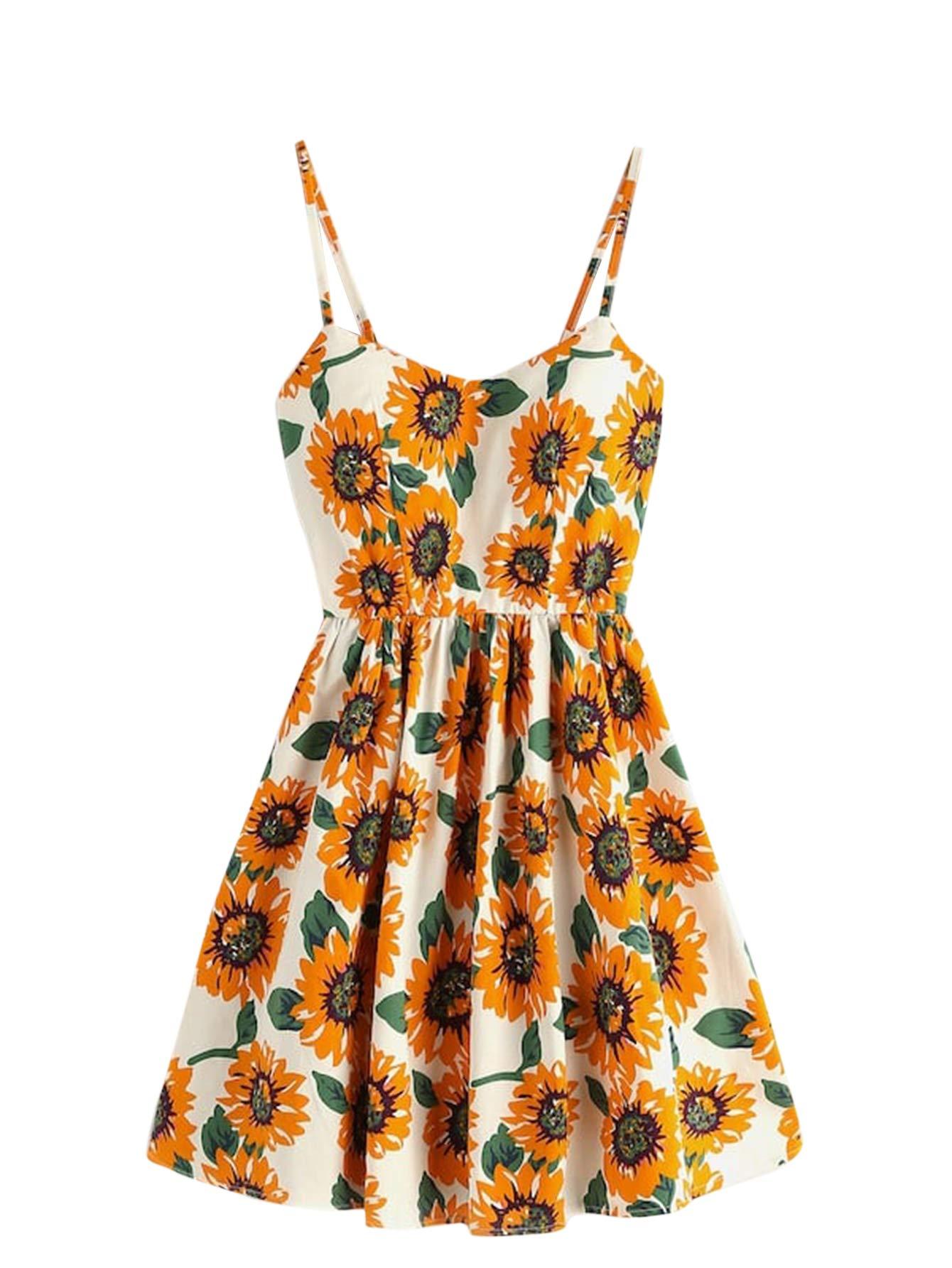 Romwe Women's Cute Summer Sunflower Print Lace Up Back Boho Swing Spaghetti Strap Cami Dress
