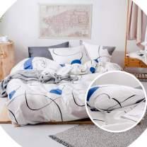 FADFAY Modern Duvet Cover (90×90 inch) Queen 100% Cotton Hypoallergenic White Bedding with Dots Simple Cassic Bedding 3 Piece:1 Hidden Zipper Closure Duvet Cover& 2 Pillowcases