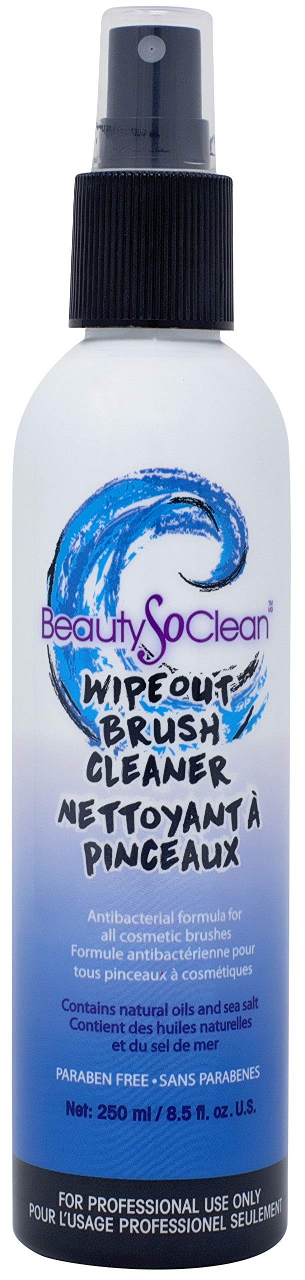 Beautysoclean Wipeout Makeup Brush Cleaner - Cosmetic Brush Cleaning Spray, Disinfectant, Sanitizer (8.5OZ) Cruelty Free, Vegan, Paraben Free, Natural & Synthetic Makeup Brush Cleanser