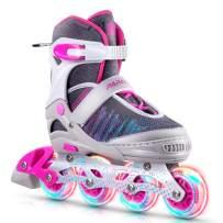 PAPAISON Fly Knitting Upper Adjustable Illuminating Inline Skates for Boys and Girls with Full Light up Wheels, Beginner Roller Skates for Kids Youth Women and Men …
