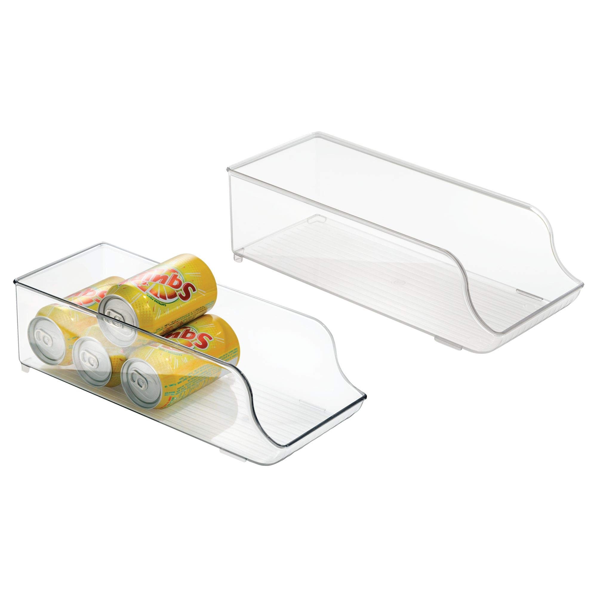 iDesign Fridge Binz Soda and Food Can Dispenser Rack Organizer for Refrigerator, Freezer, Pantry or Cabinet - Pack of 2, Clear