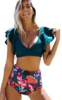 Sporlike Women Ruffle High Waist Swimsuit Push Up Tropical Bikini(Blue/Floral,Medium)
