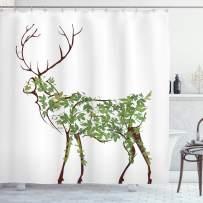 "Ambesonne Antlers Shower Curtain, Designer Deer Illustration Elk Leave Greenery Garden Traditional Celebration, Cloth Fabric Bathroom Decor Set with Hooks, 84"" Long Extra, Green Brown"