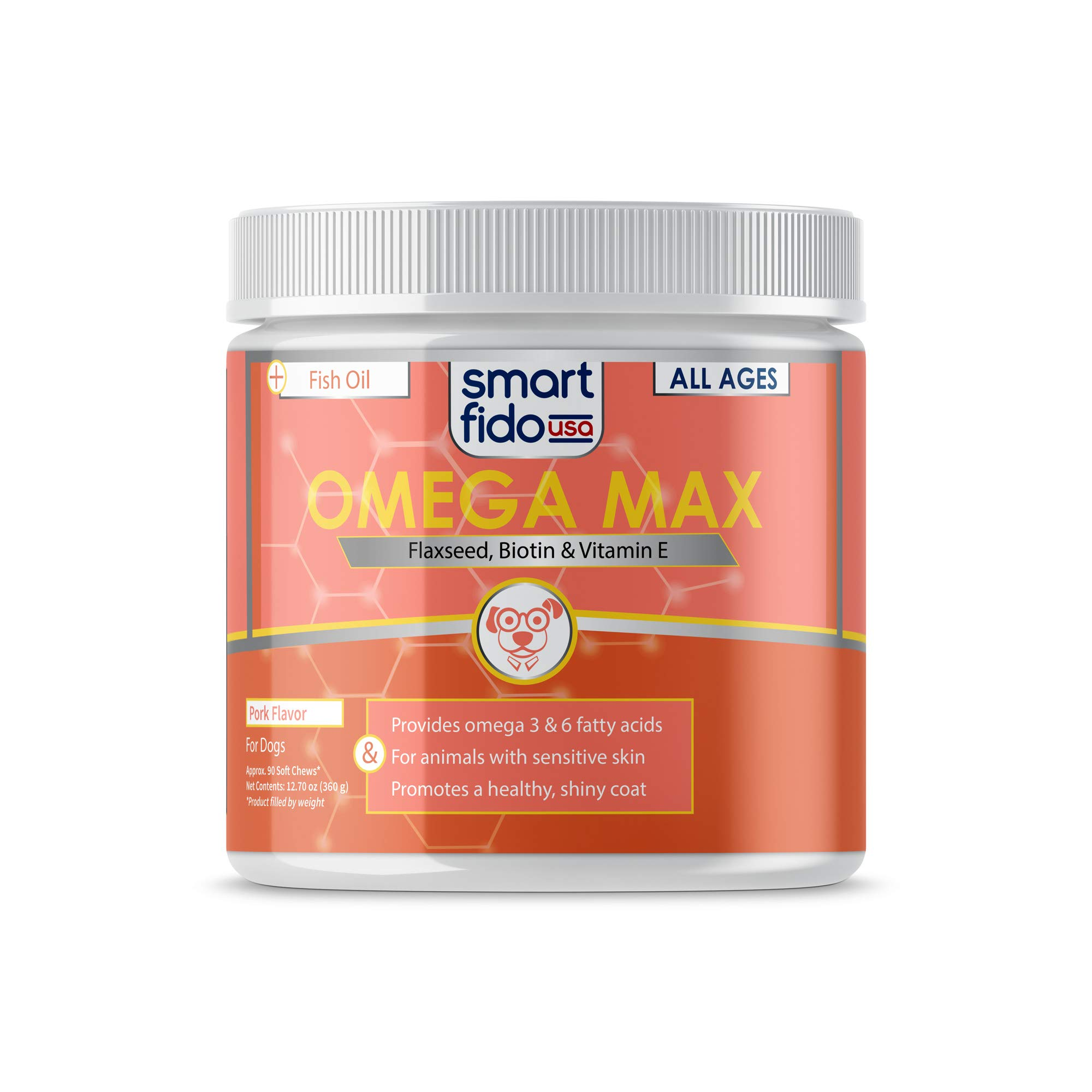 Smart Fido 95-060 Triple Omega & Salmon Oil 90 Ct Soft Chews for Dogs - with Three Omega Fatty Acids (3, 6 &9) Packed with EPA & DHA, Fish Oil