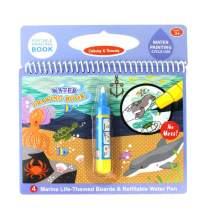 Jenilily Water Coloring Doodle Book, Reusable Drawing Book with Pen Painting Board, Educational Toy Travel Kits Gift for Age 3+ Kids Girls and Boys (Marine Life)