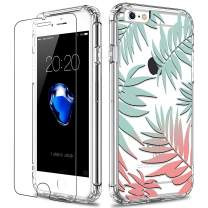 LUHOURI iPhone 6 Case,iPhone 6s Case with Screen Protector,Clear with Floral Flower Tropical Leaves for Girls Women,Slim Fit Protective Phone Case for iPhone 6 /iPhone 6s