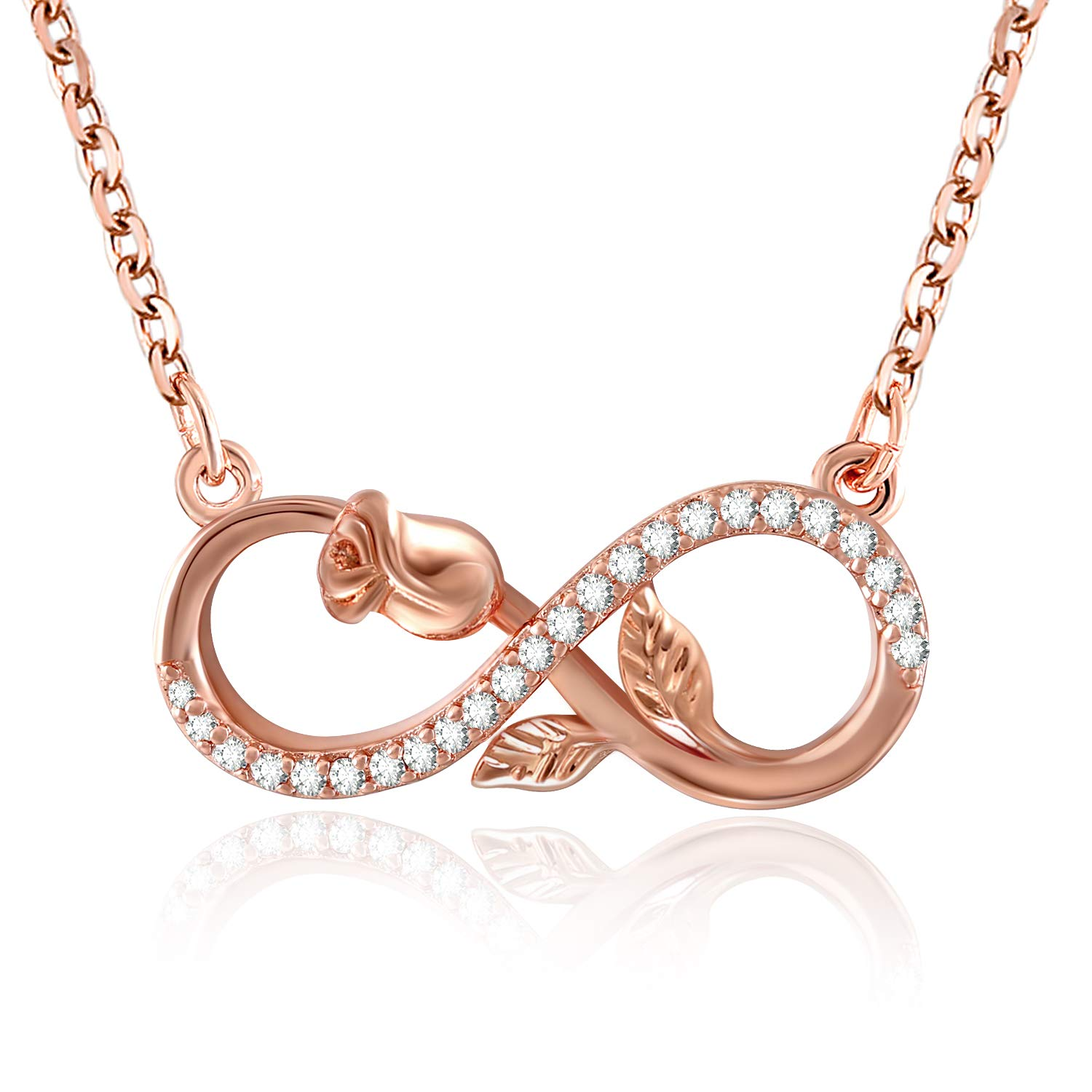 SNZM Infinity Necklace for Women Mom Flower Rose Pendant Necklace Jewelry Gifts for Mothers Day Birthday