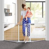 """KingSo 80 inch Auto Close Baby Gate Super Wide Safety Gate Foldable Extra Wide 33-80 inch Walk Thru for House Stair Doorways Hallways Include Hardware Mounts(30"""" Tall, White)"""