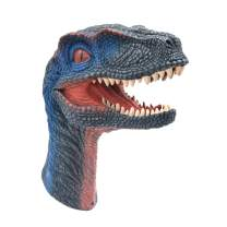 Tecesy Dinosaur Hand Puppets, Rubber Puppet Role Play, Animal Gloves, Realistic Raptor Dino Head 12 inch