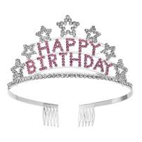 SWEETV Crystal Birthday Tiara Rhinestone Princess Crown Happy Birthday Crowns, Pink