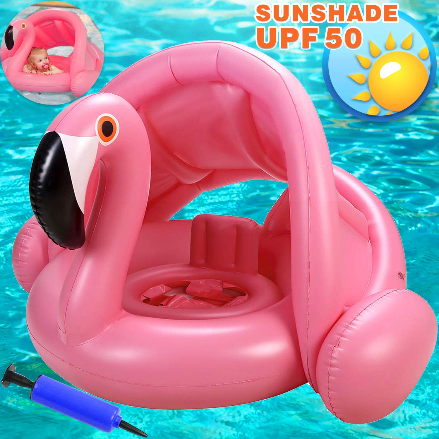 Flamingo Baby Swimming Ring with Canopy-Inflatable Baby Swimming Pool Float Sunshade for Infant Kids Boys Girls Toddlers Age 8-48 Months Up to 40Lbs Summer Outdoor Beach Water Bath Toys