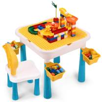 Kids Activity Table Set, Toddler Table and Chair Set, 7 in 1 Multi Activity Table Set with Storage Area, 170PCS Large Building Blocks Compatible Bricks with General Brands (Playground Track)