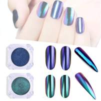 ANGNYA Chameleon Nail Powder Chrome Mirror Magic Pigment Powder Glitters Fairy Two Colors With 2 Sponges Manicure Kits