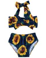 Ahegao Baby Girls 2Pcs Bikini Swimsuits Halter Tube Top Floral Bottom Bowknot Bathing Suits Beach Sunsuit Summer Outfits