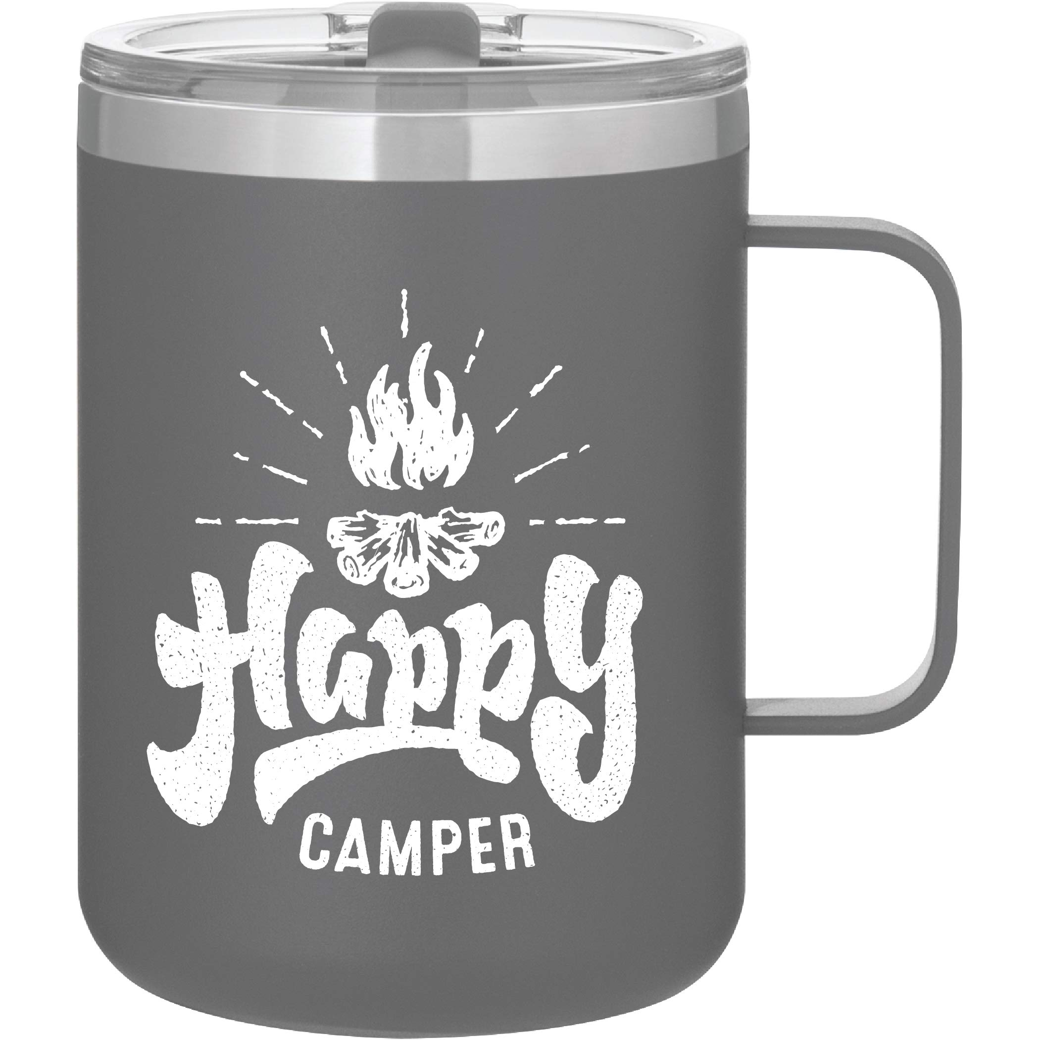 Happy Camper - Camping Gifts - 16oz Vacuum Insulated Travel Mug with Lid by MugHeads (Matte Gray)