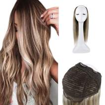 Full Shine Half Part Wigs Brazilian Remy Human Hair 22 Inch U Part Wig Color 3 Fadind To Color 8 And 22 Solf Balayage Hair Wigs One Piece 150 Gram For Women Real Hair Wig