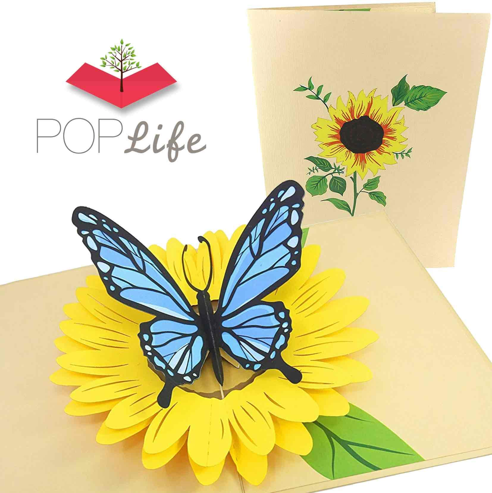 PopLife Blue Butterfly and Sunflower Pop Up Mother's Day Card - 3D Anniversary Gift, Pop Up Birthday Card, Thank You, Congratulations, Valentine's - for Mom, for Daughter, for Wife, for Grandma