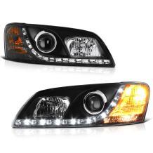 [For 2008-2009 Pontiac G8] LED Strip Black Projector Headlight Headlamp Assembly, Driver & Passenger Side