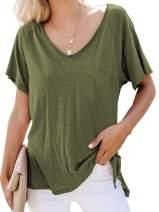 SWQZVT Women's Top Short Sleeves V Neck Casual T Shirt Loose Summer Basic Tee Tops Workout Shirts