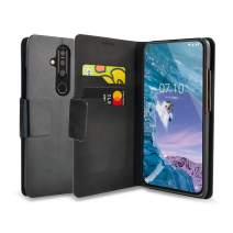 Olixar for Nokia 8.1 Plus Wallet Case with Card Holder - Flip Folio Kickstand PU Leather Wallet Case Cover - ID and Credit Card Pocket - Wireless Charging Compatible - Black