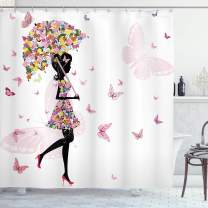 """Ambesonne Feminine Shower Curtain, Girl with Floral Umbrella and Dress Walking with Butterflies Inspirational Art, Cloth Fabric Bathroom Decor Set with Hooks, 70"""" Long, Black Pink"""