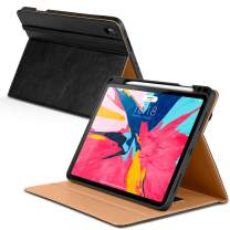 DTTO iPad Pro 11 Case 2018 with Pencil Holder, Premium Leather Folio Stand Cover [Apple Pencil Pair and Charge Supported], with Auto Sleep/Wake for iPad Pro 11 Inch (Black)