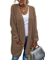 TEMOFON Women Open Front Cardigan Long Sleeve Casual Knit Lightweight Color Block Long Cardigans Sweater Coats S-XL