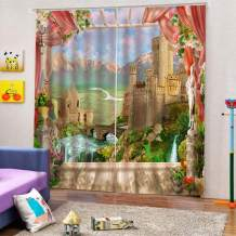 """SK Studio Printing Decor Curtain, 3D Window Polyester Curtains Blackout for Living Room Bedroom, 2 Panels Set Beautiful Castle 126"""" W by 106"""" L"""