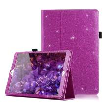 iPad 7th Generation 10.2 Case with Pencil Holder, CASZONE [Auto Sleep/Wake] Bling Shiny PU Leather Folio Kickstand Smart Protective Cover for New iPad 10.2 inch 2019 Girls/Women- Glitter Rose Purple