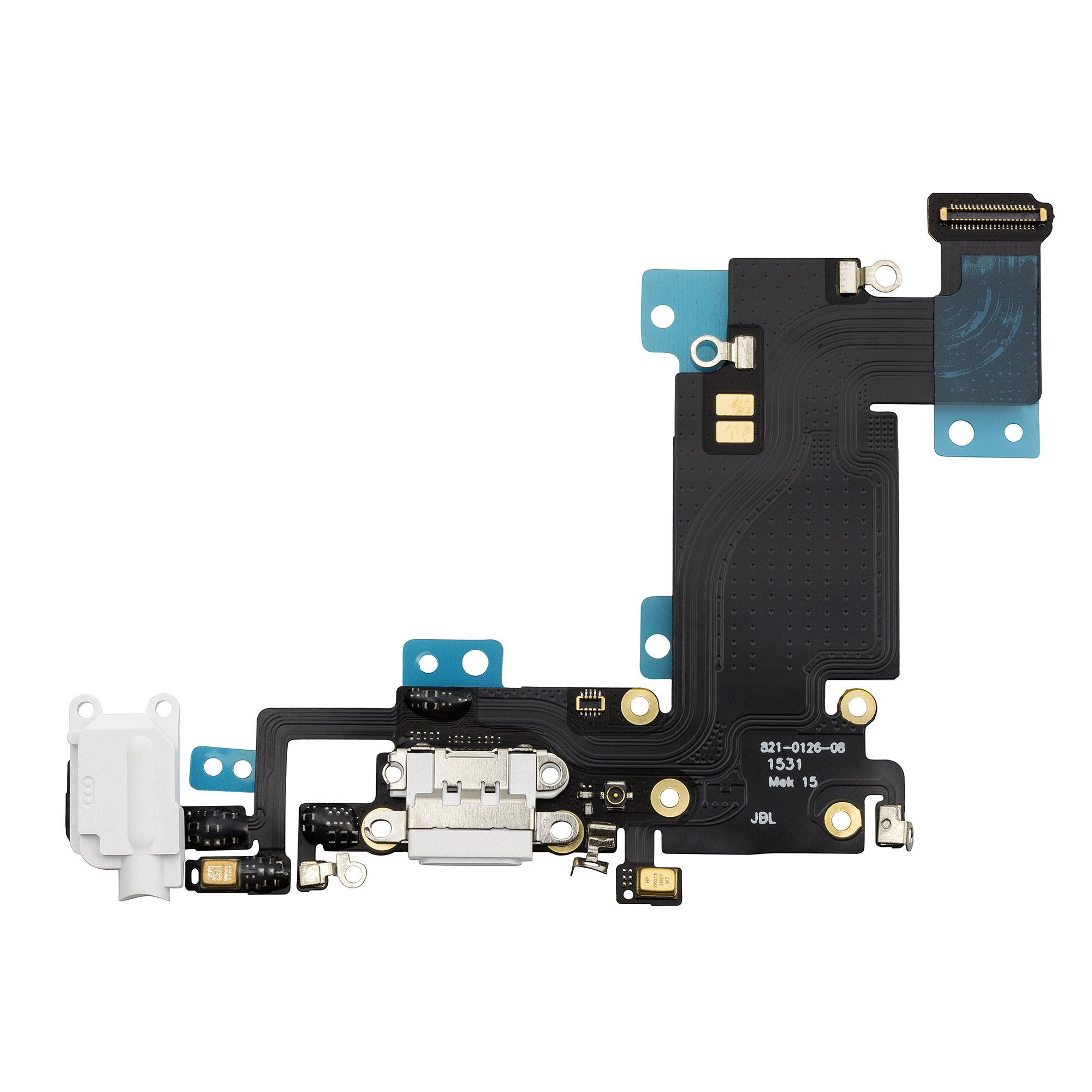 COHK USB Charging Dock Port Flex Cable with Microphone and Headphone Audio Jack Replacement for iPhone 6s Plus 5.5 inchs White