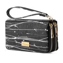 KAMO Wallet for Women Zip Around Phone Wallet Wristlet Travel Long Purse for Women Lady Girl