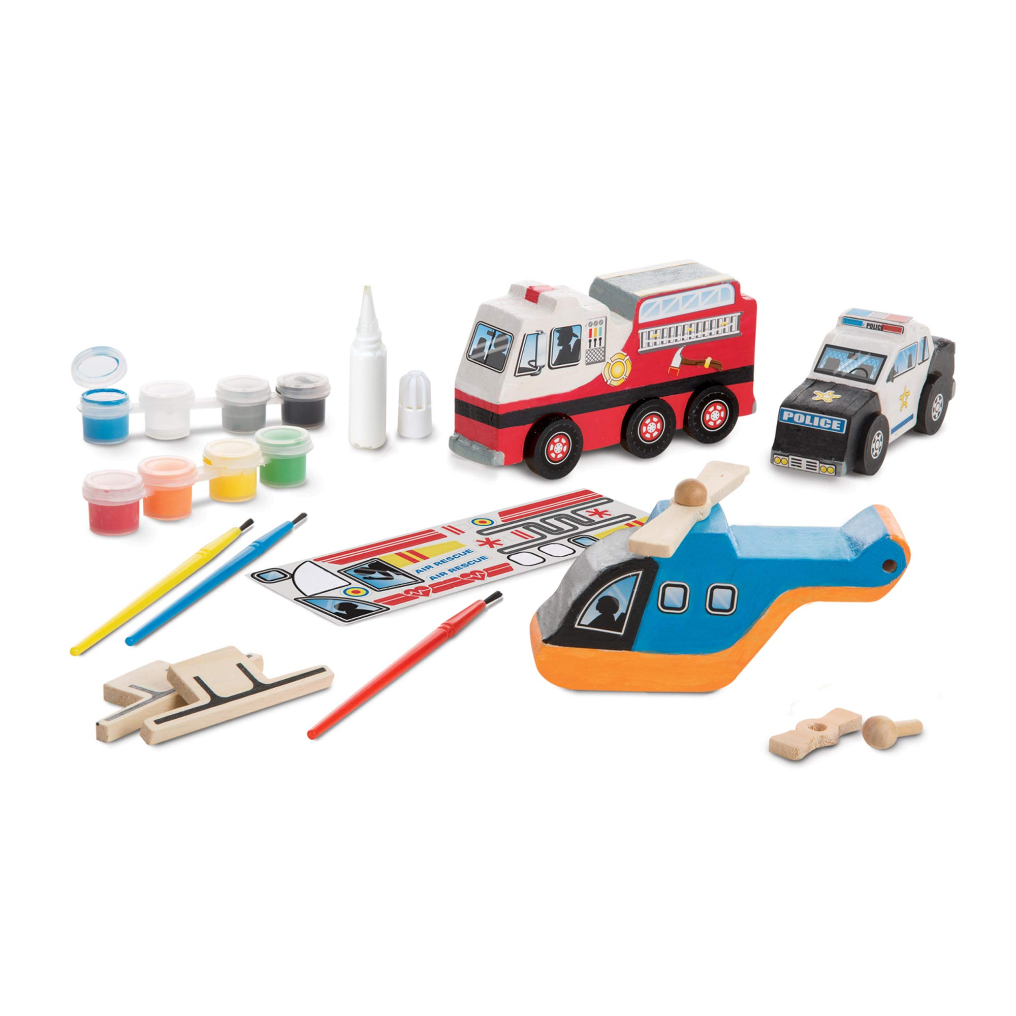 Melissa & Doug Created by Me! Rescue Vehicles Wooden Craft Kit - The Original (Decorate a Police Car, Fire Truck, Helicopter, Great Gift for Girls and Boys – Best for 4, 5, 6, 7 and 8 Year Olds)