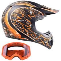 Typhoon Adult ATV Helmet & Goggles Gear Combo, Matte Orange w/Orange (XL)