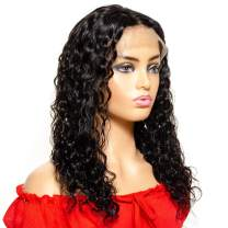 YULING Water Wave Lace Front Wigs Human Hair Curly Wigs for Black Women Glueless Brazilian Wet and Wavy Lace Frontal Wig with Baby Hair Pre Plucked Real Hair Natural Black Color (20inch)