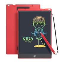 LCD Writing Tablet Drawing Pad, Colorful Screen Doodle Board for Kids, Traveling Gift Toys for 2 3 4 5 6 Year Old Boys and Girls (12 inch, Red)