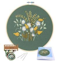 Full Range of Embroidery Starter Kit with Pattern, Kissbuty Cross Stitch Kit Including Embroidery Cloth with Floral Pattern, Bamboo Embroidery Hoop, Color Threads and Tools Kit (Flowers Plants)