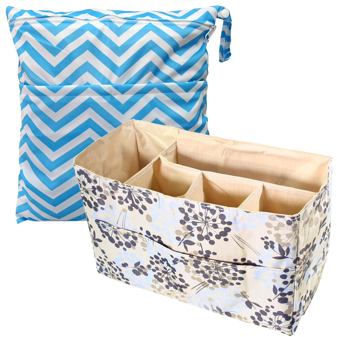 KF Baby Diaper Bag Insert Organizer, Firm Compartments + Wet Dry Bag Value Combo