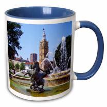 """3dRose mug_47350_6""""Kansas City JC Nichols Fountain"""" Two Tone Blue Mug, 11 oz, Multicolor"""