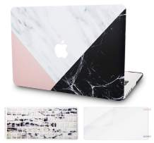 "KECC Laptop Case for Old MacBook Pro 13"" Retina (-2015) w/Keyboard Cover Plastic Hard Shell Case A1502/A1425 + Screen Protector 3 in 1 Bundle (White Marble Pink Black)"