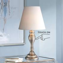 """Thom Traditional Desk Table Lamp 19 1/4"""" High Brass Candlestick White Bell Shade Touch On Off for Bedroom Bedside Office - Regency Hill"""