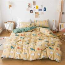 MICBRIDAL Super Cute Cats Duvet Cover Twin Soft 100% Cottob Yellow Bedding Duvet Cover with 2 Pillowcases Animal Cats Bedding Set for Boys Girls Cats Comforter Set with Zipper(No Comforter)