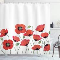 """Ambesonne Floral Shower Curtain, Poppy Flowers in Garden Fresh Plant Idyllic Nature Fragrance Theme Print, Cloth Fabric Bathroom Decor Set with Hooks, 84"""" Long Extra, Orange and Green"""